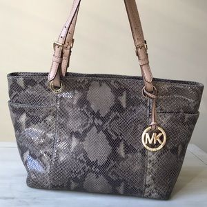 Michael Kors Suede Leather Tote Snakeskin